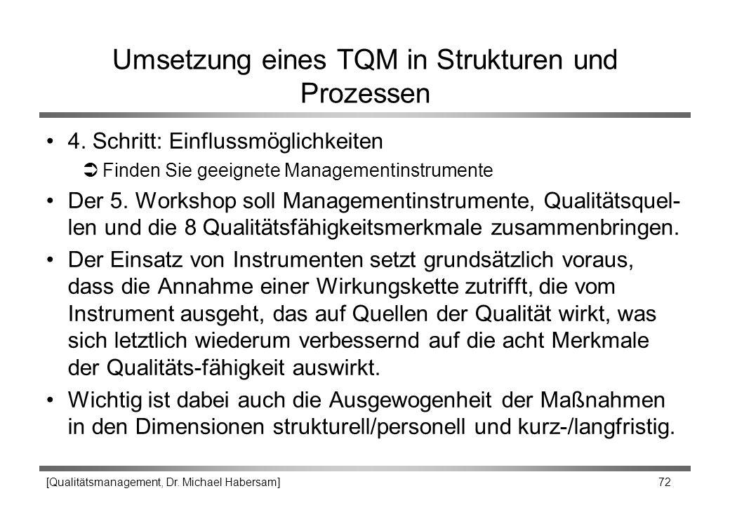 [Qualitätsmanagement, Dr. Michael Habersam] 72 Umsetzung eines TQM in Strukturen und Prozessen 4. Schritt: Einflussmöglichkeiten ÜFinden Sie geeignete