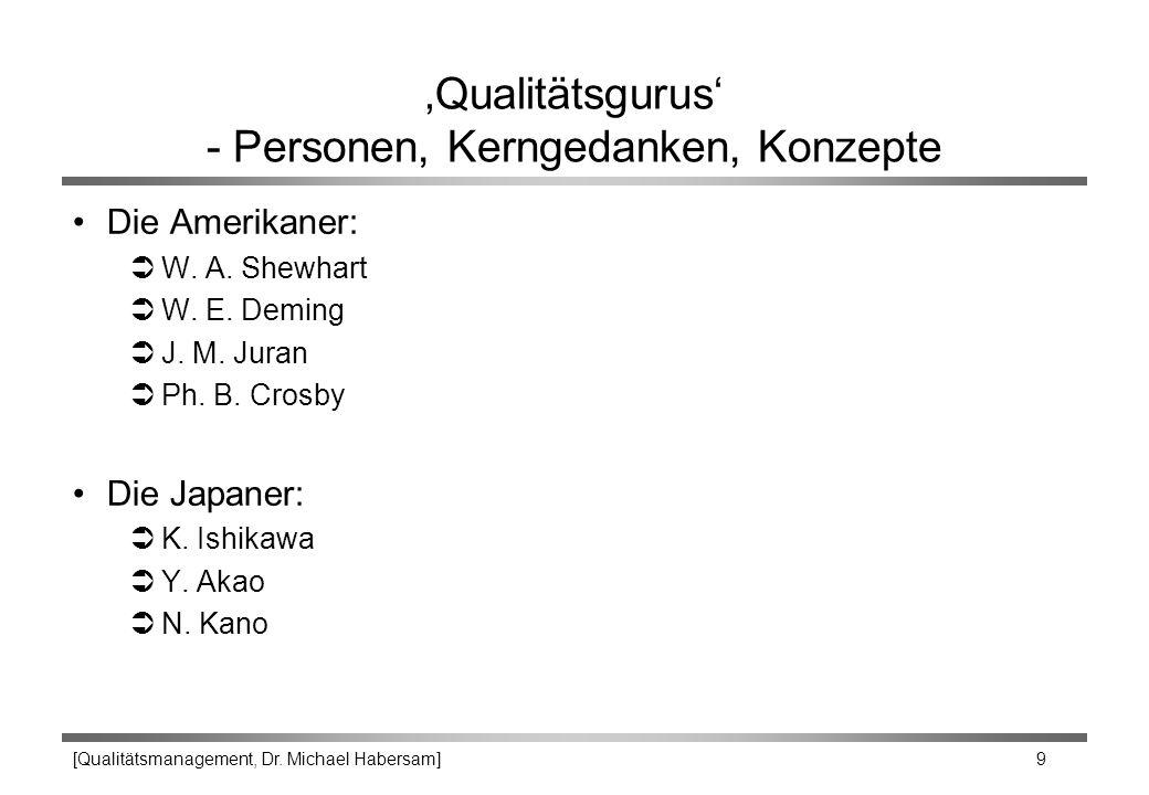 [Qualitätsmanagement, Dr. Michael Habersam] 9 'Qualitätsgurus' - Personen, Kerngedanken, Konzepte Die Amerikaner: ÜW. A. Shewhart ÜW. E. Deming ÜJ. M.