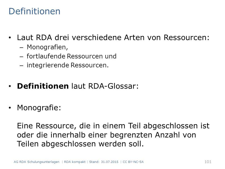 Definitionen Laut RDA drei verschiedene Arten von Ressourcen: – Monografien, – fortlaufende Ressourcen und – integrierende Ressourcen. Definitionen la