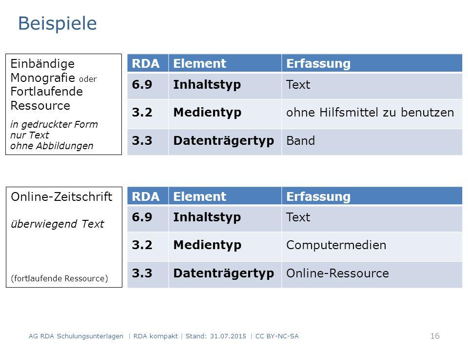 16 RDAElementErfassung 6.9InhaltstypText 3.2Medientypohne Hilfsmittel zu benutzen 3.3DatenträgertypBand Einbändige Monografie oder Fortlaufende Ressou