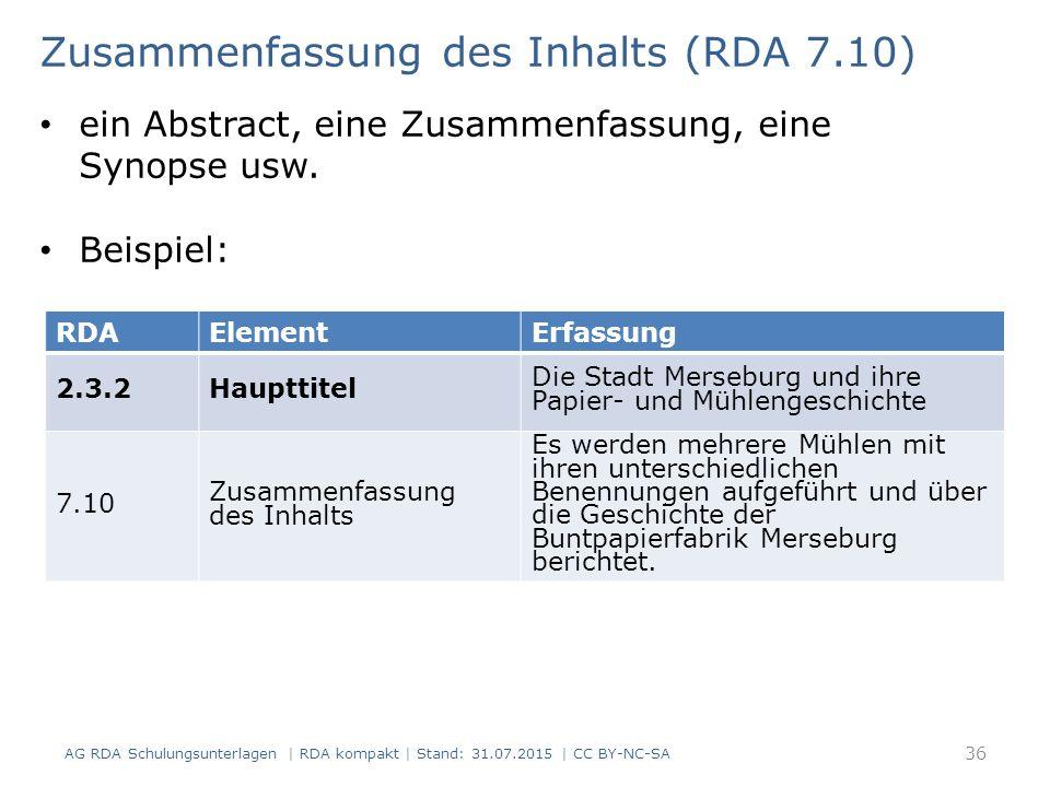 RDAElementErfassung 2.3.2Haupttitel Die Stadt Merseburg und ihre Papier- und Mühlengeschichte 7.10 Zusammenfassung des Inhalts Es werden mehrere Mühle