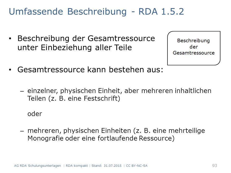 Umfassende Beschreibung - RDA 1.5.2 Beschreibung der Gesamtressource unter Einbeziehung aller Teile Gesamtressource kann bestehen aus: – einzelner, ph