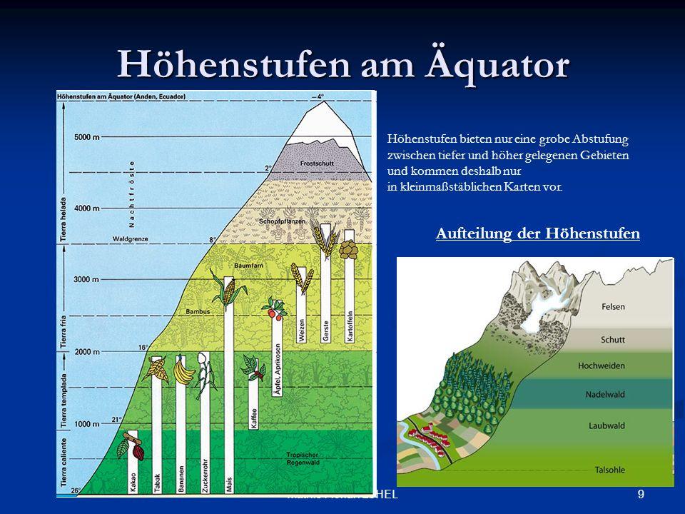 9Mathis Florian 2bHEL Höhenstufen am Äquator Höhenstufen bieten nur eine grobe Abstufung zwischen tiefer und höher gelegenen Gebieten und kommen desha