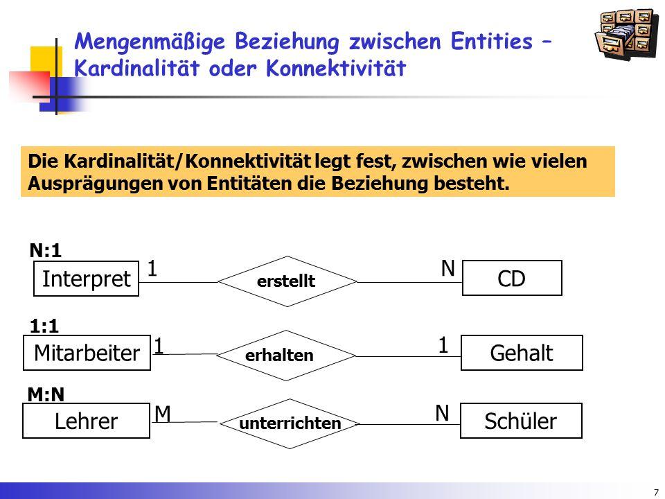 7 Mengenmäßige Beziehung zwischen Entities – Kardinalität oder Konnektivität N:1 erstellt Interpret CD N1 Die Kardinalität/Konnektivität legt fest, zw
