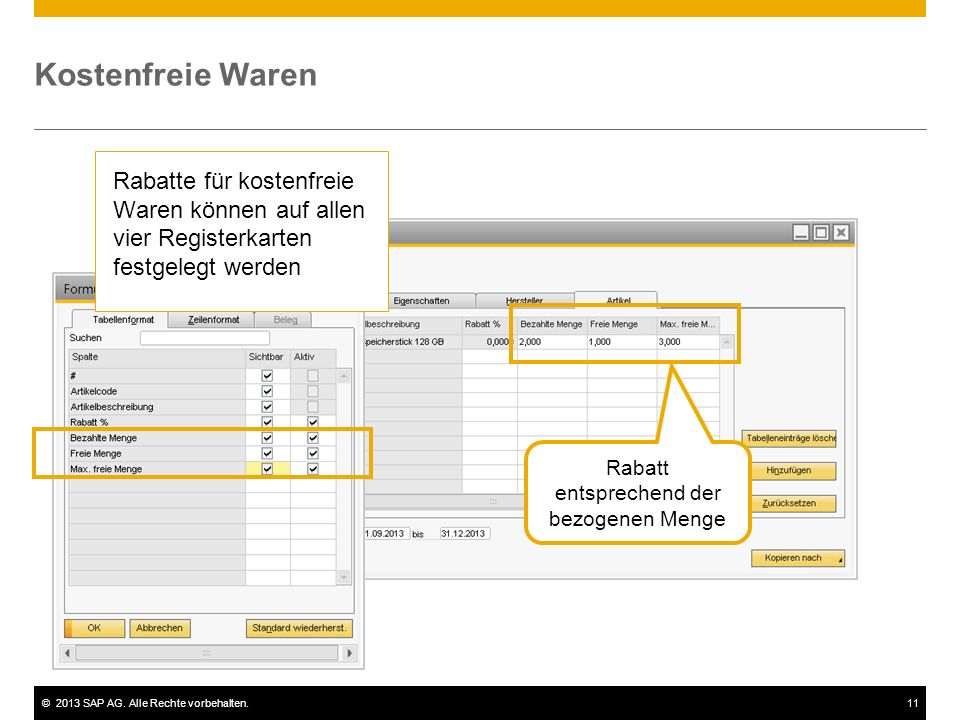 ©2013 SAP AG. Alle Rechte vorbehalten.11 Kostenfreie Waren Rabatt entsprechend der bezogenen Menge Rabatte für kostenfreie Waren können auf allen vier