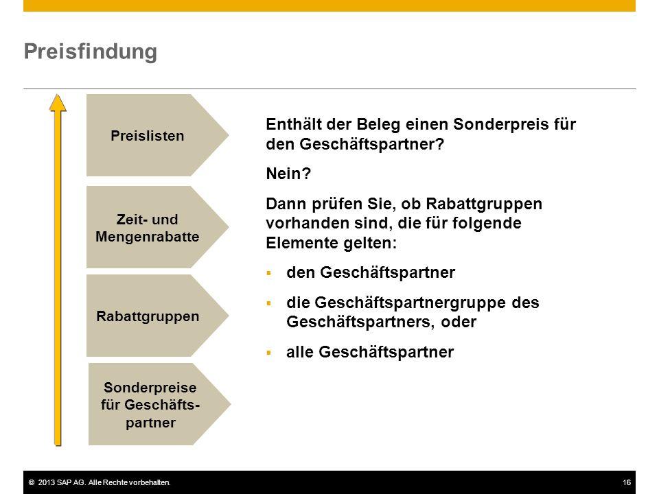 ©2013 SAP AG. Alle Rechte vorbehalten.16 Preisfindung Rabattgruppen Zeit- und Mengenrabatte Preislisten Sonderpreise für Geschäfts- partner Enthält de