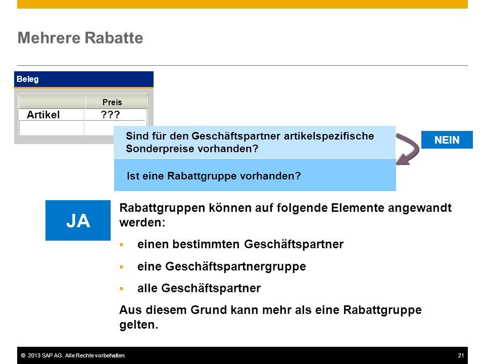 ©2013 SAP AG. Alle Rechte vorbehalten.21 Mehrere Rabatte Beleg Artikel ??? Preis NEIN Ist eine Rabattgruppe vorhanden? Sind für den Geschäftspartner a