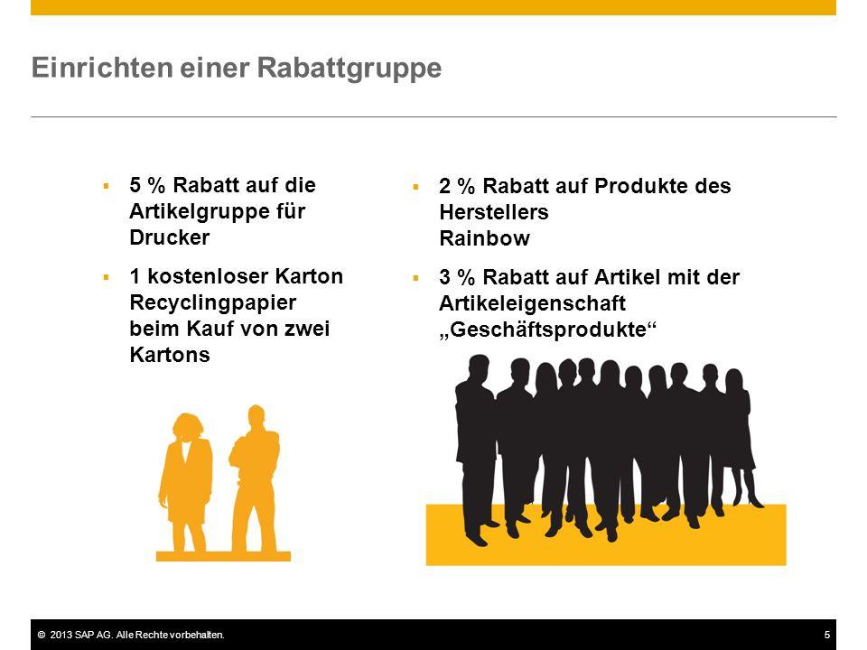 ©2013 SAP AG. Alle Rechte vorbehalten.5 Einrichten einer Rabattgruppe  5 % Rabatt auf die Artikelgruppe für Drucker  1 kostenloser Karton Recyclingp