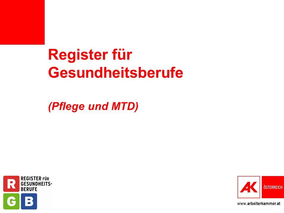 www.arbeiterkammer.at Register für Gesundheitsberufe (Pflege und MTD)