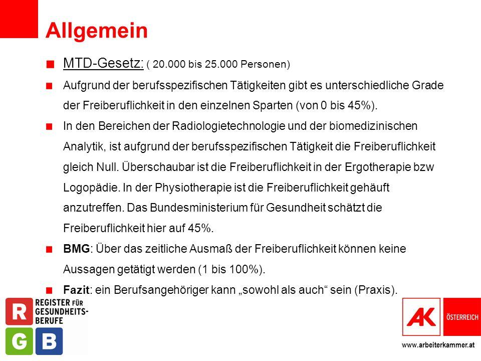 www.arbeiterkammer.at Allgemein MTD-Gesetz: ( 20.000 bis 25.000 Personen) Aufgrund der berufsspezifischen Tätigkeiten gibt es unterschiedliche Grade d