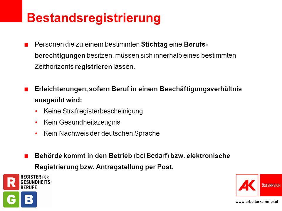 www.arbeiterkammer.at Bestandsregistrierung Personen die zu einem bestimmten Stichtag eine Berufs- berechtigungen besitzen, müssen sich innerhalb eine