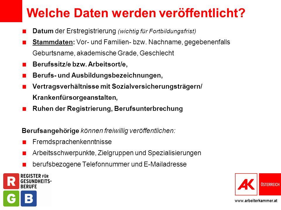 www.arbeiterkammer.at Welche Daten werden veröffentlicht? Datum der Erstregistrierung (wichtig für Fortbildungsfrist) Stammdaten: Vor- und Familien- b