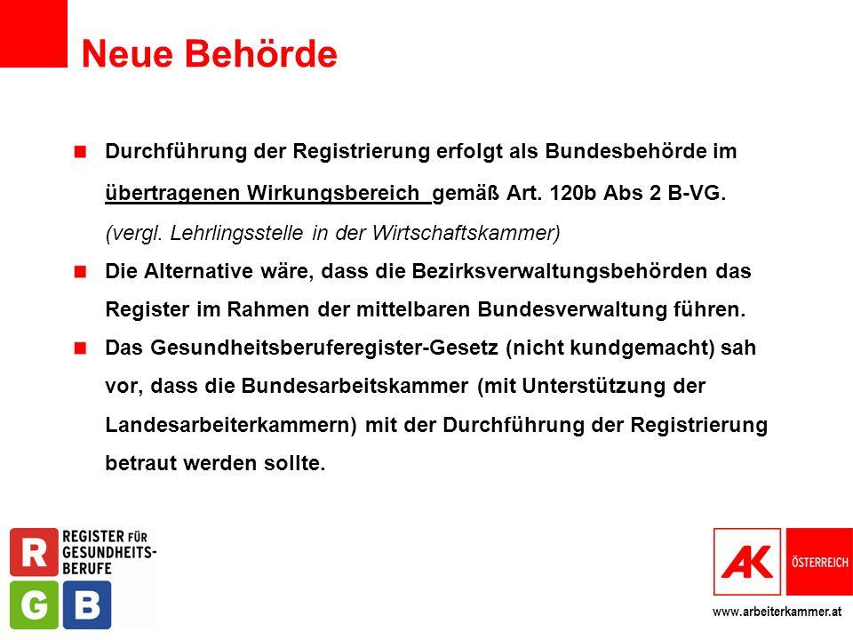 www.arbeiterkammer.at Neue Behörde Durchführung der Registrierung erfolgt als Bundesbehörde im übertragenen Wirkungsbereich gemäß Art. 120b Abs 2 B-VG