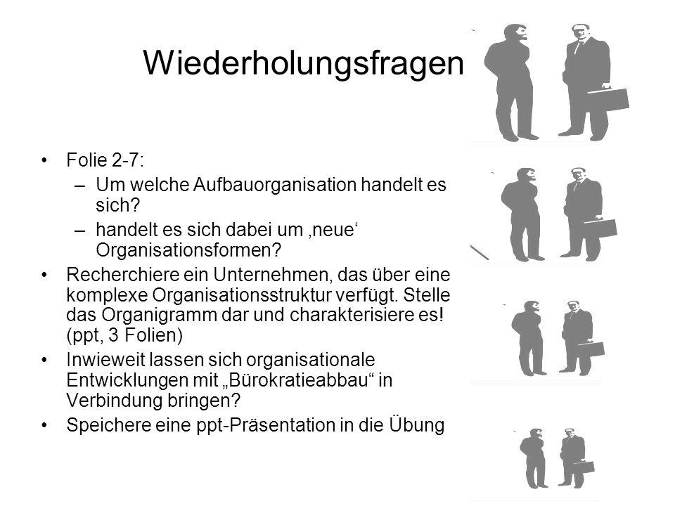 Folie 2-7: –Um welche Aufbauorganisation handelt es sich? –handelt es sich dabei um 'neue' Organisationsformen? Recherchiere ein Unternehmen, das über