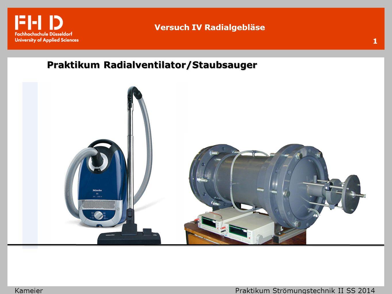 Versuch IV Radialgebläse KameierPraktikum Strömungstechnik II SS 2014 Klassifizierung von Strömungsmaschinen 2 strömende Fluide inkompressible Strömungen Ma < 0,3 In Luft c < 100 m/s In Wasser p < 100 bar, T < 50°C ∆ ρ < 5% kompressible Strömungen Ma > 0,3 In Luft c > 100 m/s In Wasser p > 100 bar, T > 50°C ∆ ρ > 5% hydraulische Strömungsmaschinen thermische Strömungsmaschinen Wasser- turbinen PumpenVentilatorenWindkraft- anlagen Hochdruck- verdichter Dampf- und Gasturbinen Staubsauger