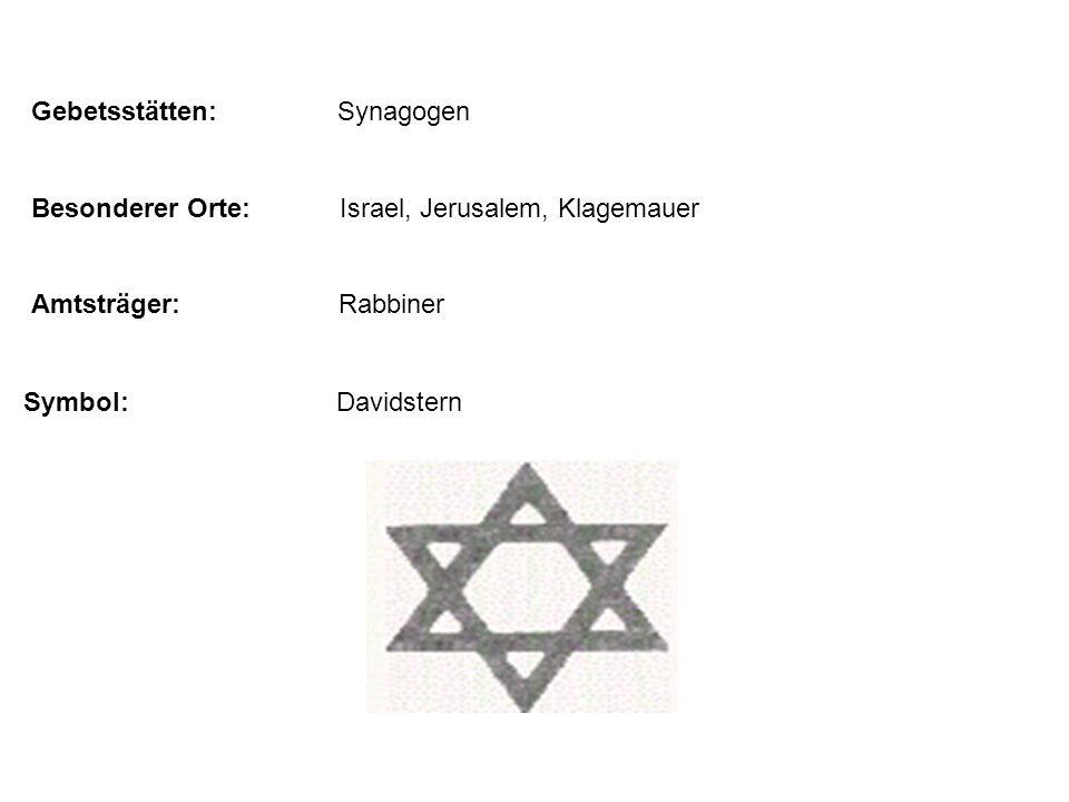 Gebetsstätten: Synagogen Besonderer Orte: Israel, Jerusalem, Klagemauer Amtsträger: Rabbiner Symbol: Davidstern