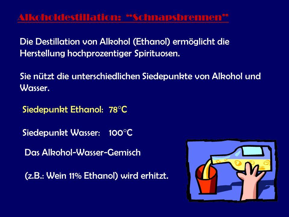 Alkoholdestillation: Schnapsbrennen Die Destillation von Alkohol (Ethanol) ermöglicht die Herstellung hochprozentiger Spirituosen.
