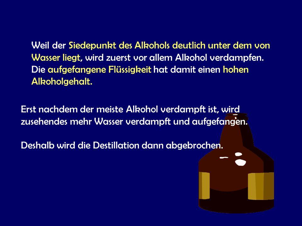 Weil der Siedepunkt des Alkohols deutlich unter dem von Wasser liegt, wird zuerst vor allem Alkohol verdampfen.
