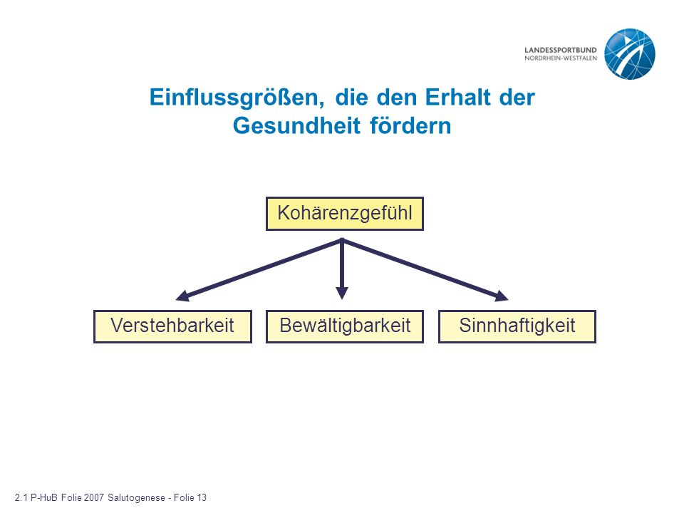 Einflussgrößen, die den Erhalt der Gesundheit fördern Kohärenzgefühl VerstehbarkeitBewältigbarkeitSinnhaftigkeit 2.1 P-HuB Folie 2007 Salutogenese - F