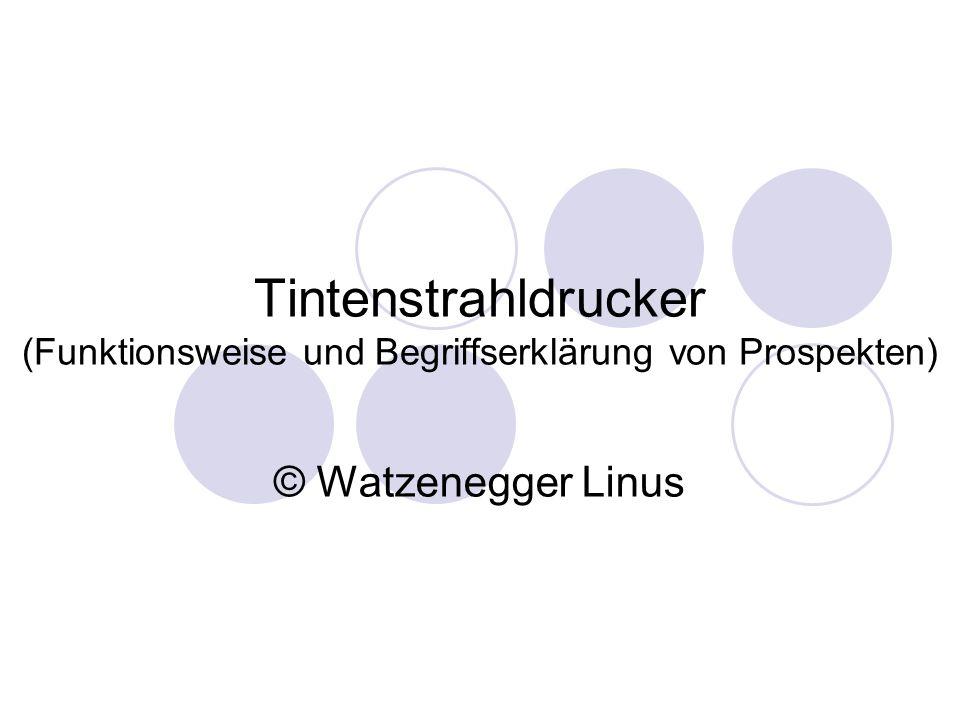 Tintenstrahldrucker (Funktionsweise und Begriffserklärung von Prospekten) © Watzenegger Linus