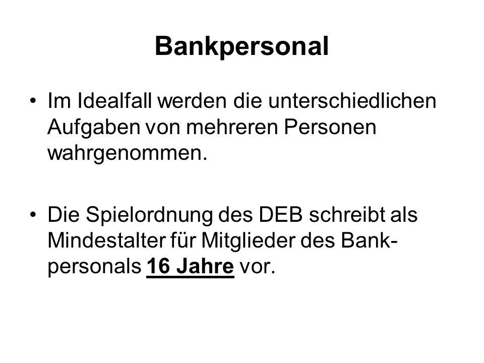 Bankpersonal Das Regelbuch der IIHF schreibt die notwendige Besetzung des Bankpersonals vor.