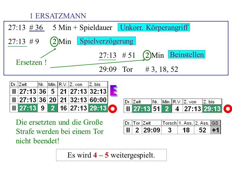 48:23# 282 + 2 Min + Diszi 48:23# 432 Min 49:38# 412 Min 49:53Tor# 72, 16, 51 Ersetzen .