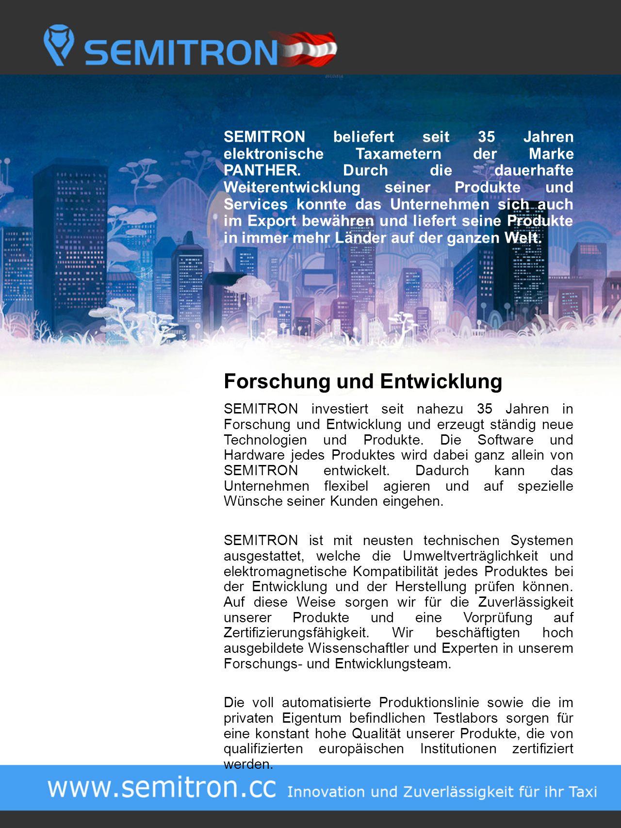 SEMITRON beliefert seit 35 Jahren elektronische Taxametern der Marke PANTHER.