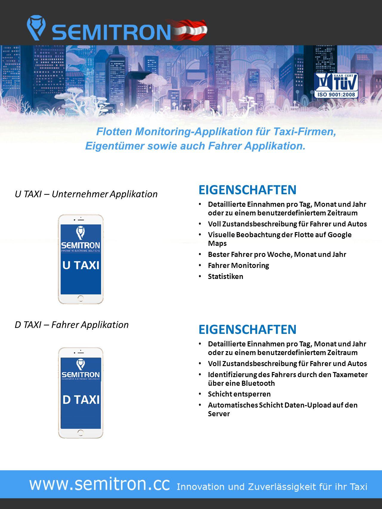 Flotten Monitoring-Applikation für Taxi-Firmen, Eigentümer sowie auch Fahrer Applikation.