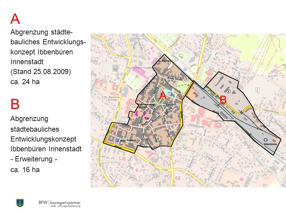 A Abgrenzung städte- bauliches Entwicklungs- konzept Ibbenbüren Innenstadt (Stand 25.08.2009) ca. 24 ha B Abgrenzung städtebauliches Entwicklungskonze