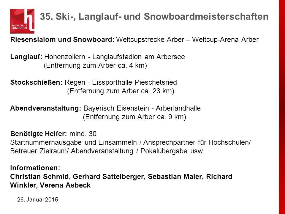Riesenslalom und Snowboard: Weltcupstrecke Arber – Weltcup-Arena Arber Langlauf: Hohenzollern - Langlaufstadion am Arbersee (Entfernung zum Arber ca.
