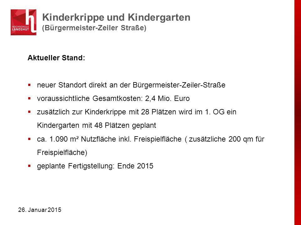 Kinderkrippe und Kindergarten (Bürgermeister-Zeiler Straße) 26. Januar 2015 Aktueller Stand:  neuer Standort direkt an der Bürgermeister-Zeiler-Straß