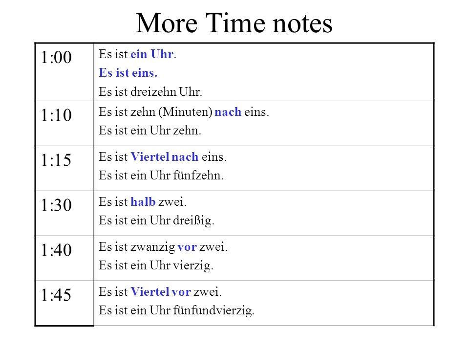 More Time notes 1:00 Es ist ein Uhr. Es ist eins. Es ist dreizehn Uhr. 1:10 Es ist zehn (Minuten) nach eins. Es ist ein Uhr zehn. 1:15 Es ist Viertel