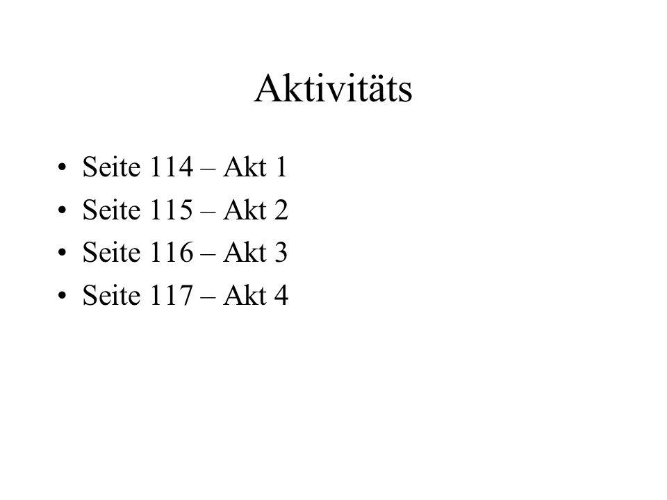 Aktivitäts Seite 114 – Akt 1 Seite 115 – Akt 2 Seite 116 – Akt 3 Seite 117 – Akt 4