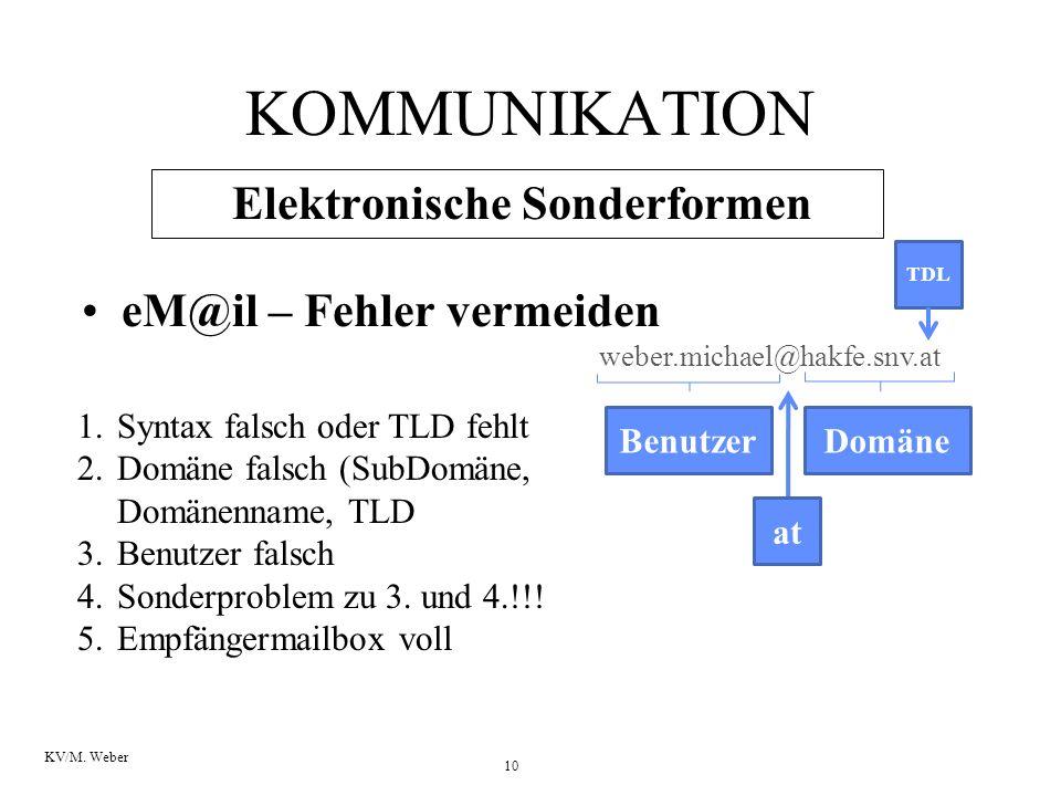 10 KV/M. Weber KOMMUNIKATION Elektronische Sonderformen eM@il – Fehler vermeiden weber.michael@hakfe.snv.at Benutzer at Domäne TDL 1.Syntax falsch ode