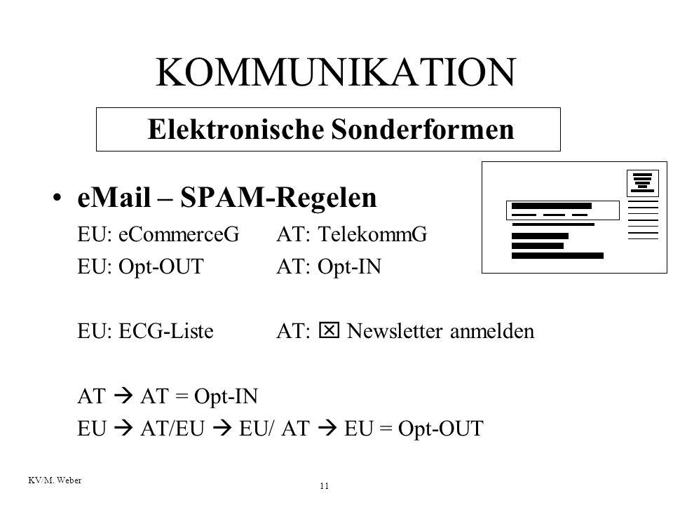 11 KV/M. Weber KOMMUNIKATION Elektronische Sonderformen eMail – SPAM-Regelen EU: eCommerceG AT: TelekommG EU: Opt-OUTAT: Opt-IN EU: ECG-ListeAT:  New