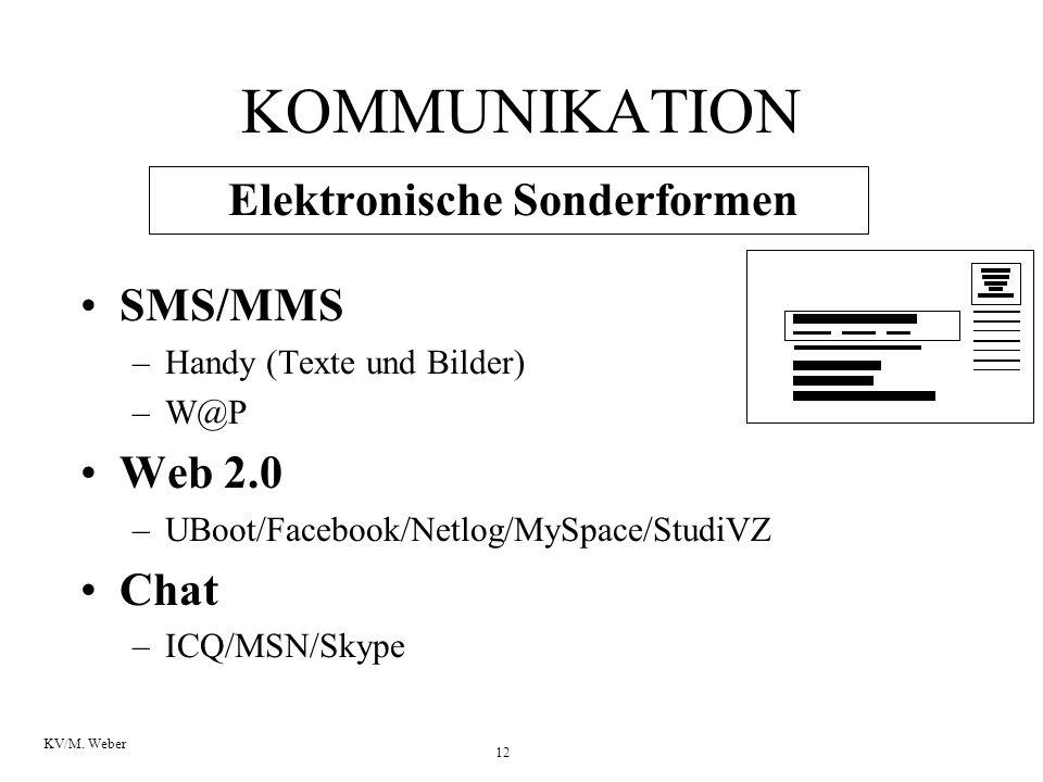 12 KV/M. Weber KOMMUNIKATION Elektronische Sonderformen SMS/MMS –Handy (Texte und Bilder) –W@P Web 2.0 –UBoot/Facebook/Netlog/MySpace/StudiVZ Chat –IC