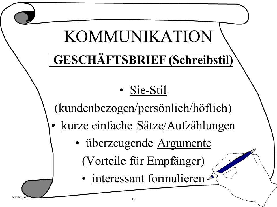 13 KV/M. Weber GESCHÄFTSBRIEF (Schreibstil) Sie-Stil (kundenbezogen/persönlich/höflich) kurze einfache Sätze/Aufzählungen überzeugende Argumente (Vort