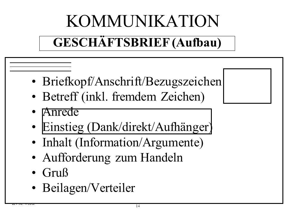 14 KV/M. Weber GESCHÄFTSBRIEF (Aufbau) Briefkopf/Anschrift/Bezugszeichen Betreff (inkl. fremdem Zeichen) Anrede Einstieg (Dank/direkt/Aufhänger) Inhal