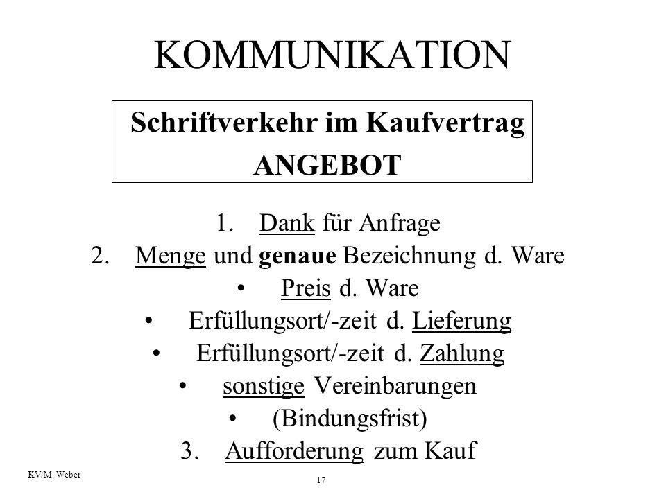 17 KV/M. Weber KOMMUNIKATION Schriftverkehr im Kaufvertrag ANGEBOT 1.Dank für Anfrage 2.Menge und genaue Bezeichnung d. Ware Preis d. Ware Erfüllungso