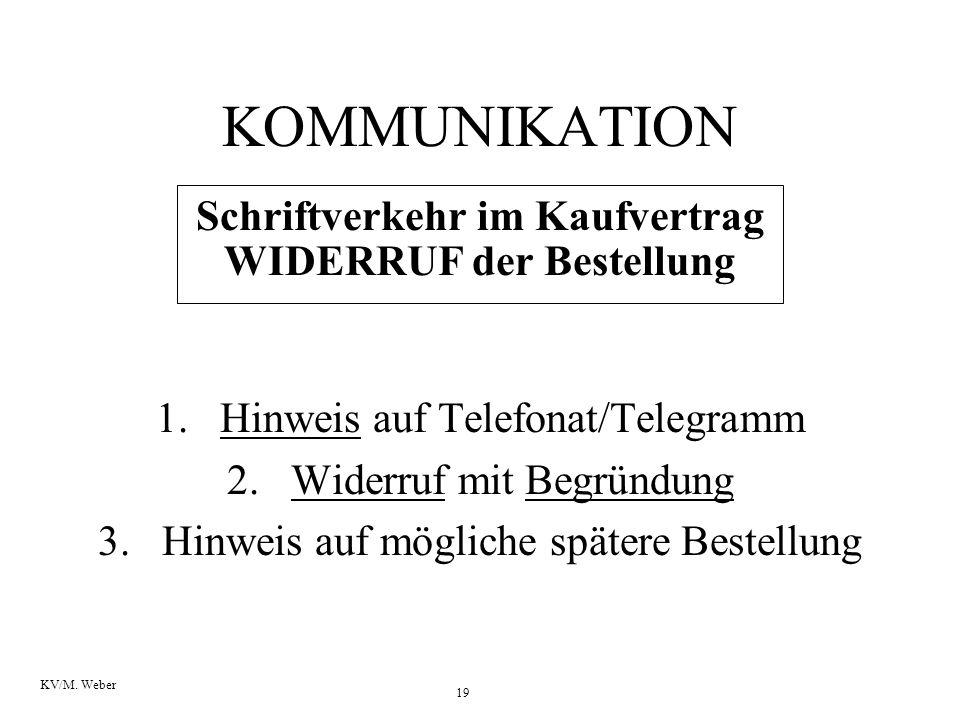 19 KV/M. Weber KOMMUNIKATION Schriftverkehr im Kaufvertrag WIDERRUF der Bestellung 1.Hinweis auf Telefonat/Telegramm 2.Widerruf mit Begründung 3.Hinwe