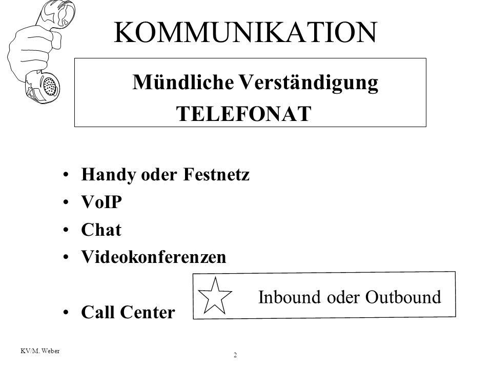 2 KV/M. Weber KOMMUNIKATION Mündliche Verständigung TELEFONAT Handy oder Festnetz VoIP Chat Videokonferenzen Call Center Inbound oder Outbound