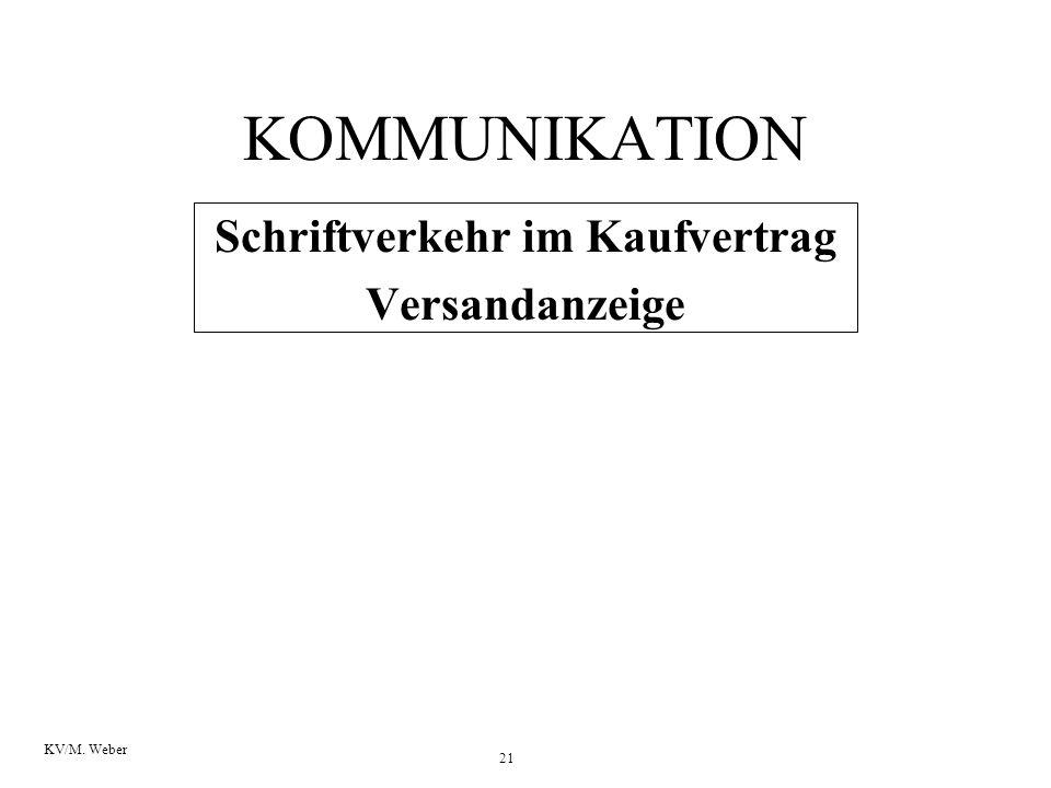 21 KV/M. Weber KOMMUNIKATION Schriftverkehr im Kaufvertrag Versandanzeige
