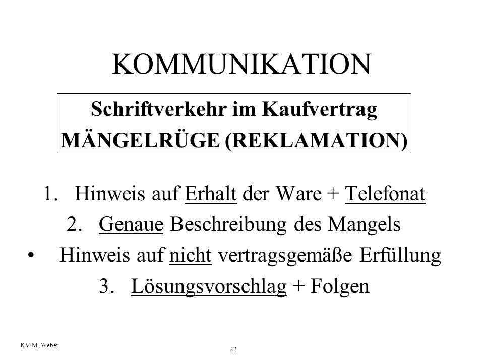 22 KV/M. Weber Schriftverkehr im Kaufvertrag MÄNGELRÜGE (REKLAMATION) 1.Hinweis auf Erhalt der Ware + Telefonat 2.Genaue Beschreibung des Mangels Hinw