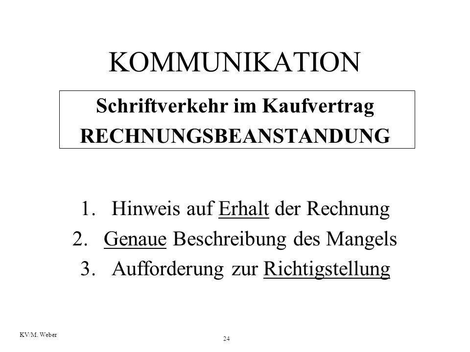24 KV/M. Weber KOMMUNIKATION Schriftverkehr im Kaufvertrag RECHNUNGSBEANSTANDUNG 1.Hinweis auf Erhalt der Rechnung 2.Genaue Beschreibung des Mangels 3