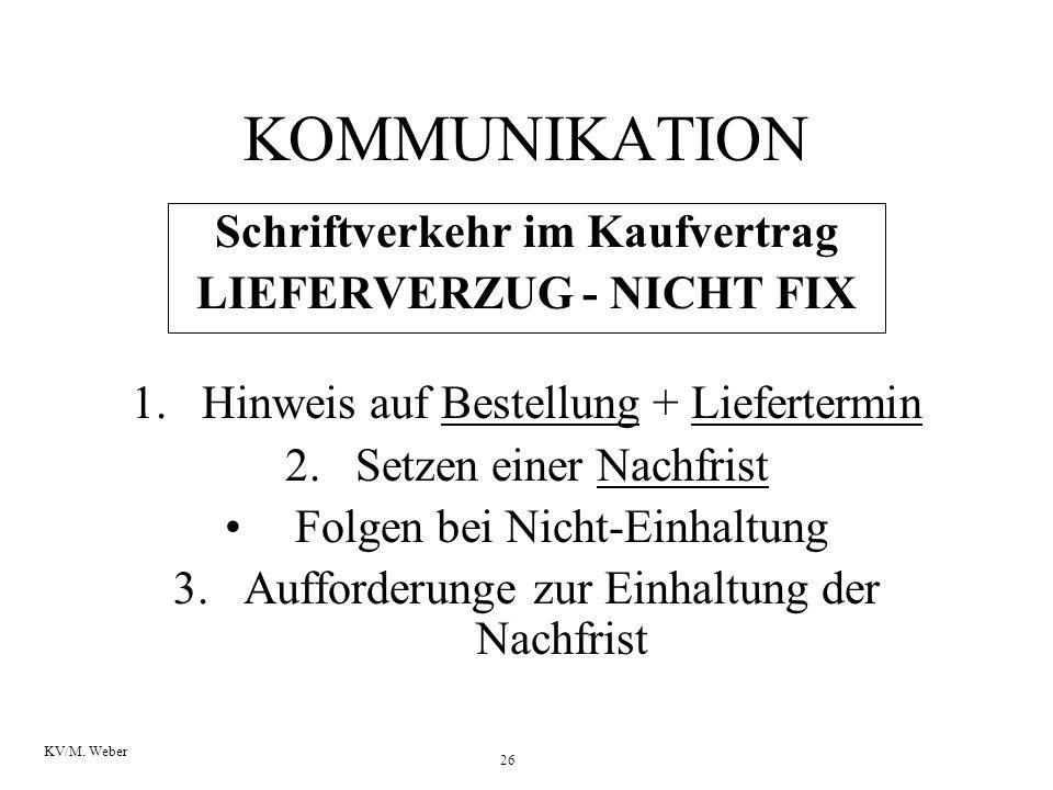 26 KV/M. Weber KOMMUNIKATION Schriftverkehr im Kaufvertrag LIEFERVERZUG - NICHT FIX 1.Hinweis auf Bestellung + Liefertermin 2.Setzen einer Nachfrist F