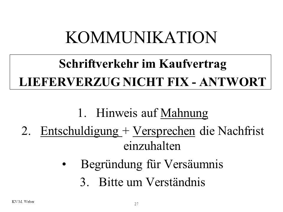27 KV/M. Weber KOMMUNIKATION Schriftverkehr im Kaufvertrag LIEFERVERZUG NICHT FIX - ANTWORT 1.Hinweis auf Mahnung 2.Entschuldigung + Versprechen die N