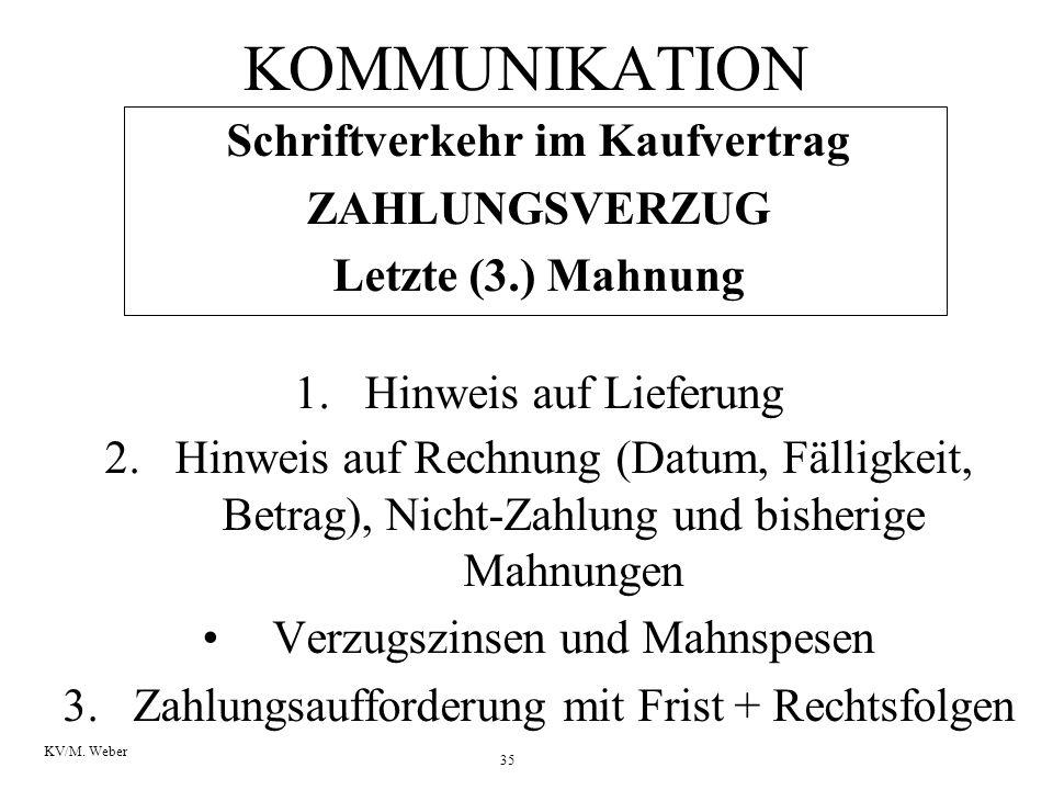 35 KV/M. Weber KOMMUNIKATION Schriftverkehr im Kaufvertrag ZAHLUNGSVERZUG Letzte (3.) Mahnung 1.Hinweis auf Lieferung 2.Hinweis auf Rechnung (Datum, F