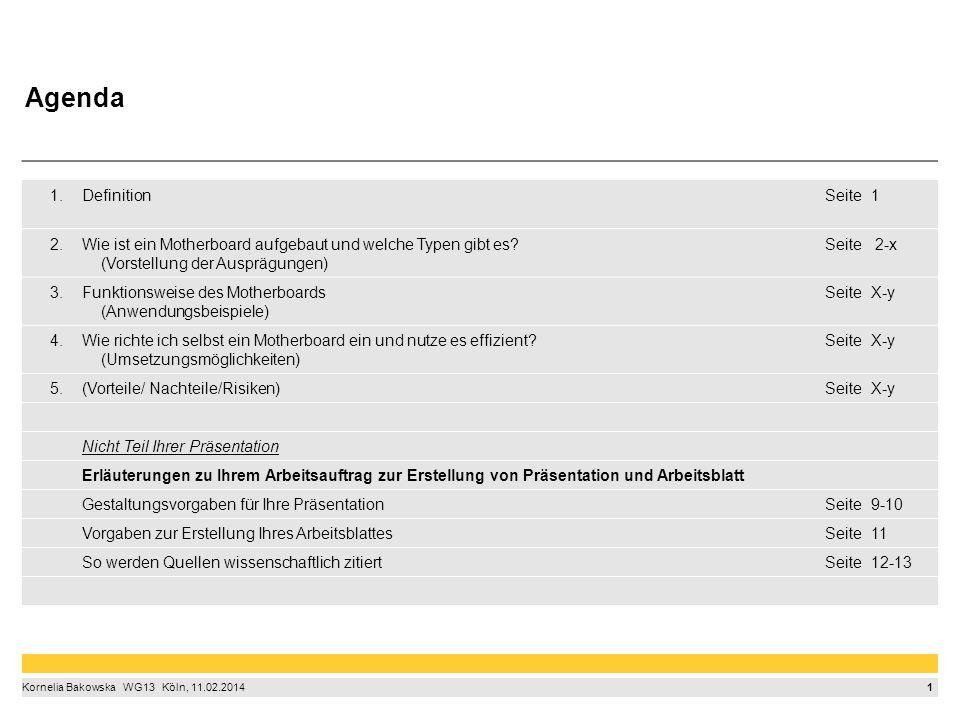 1 Kornelia Bakowska  WG13  Köln, 11.02.2014 1.DefinitionSeite1 2.Wie ist ein Motherboard aufgebaut und welche Typen gibt es.