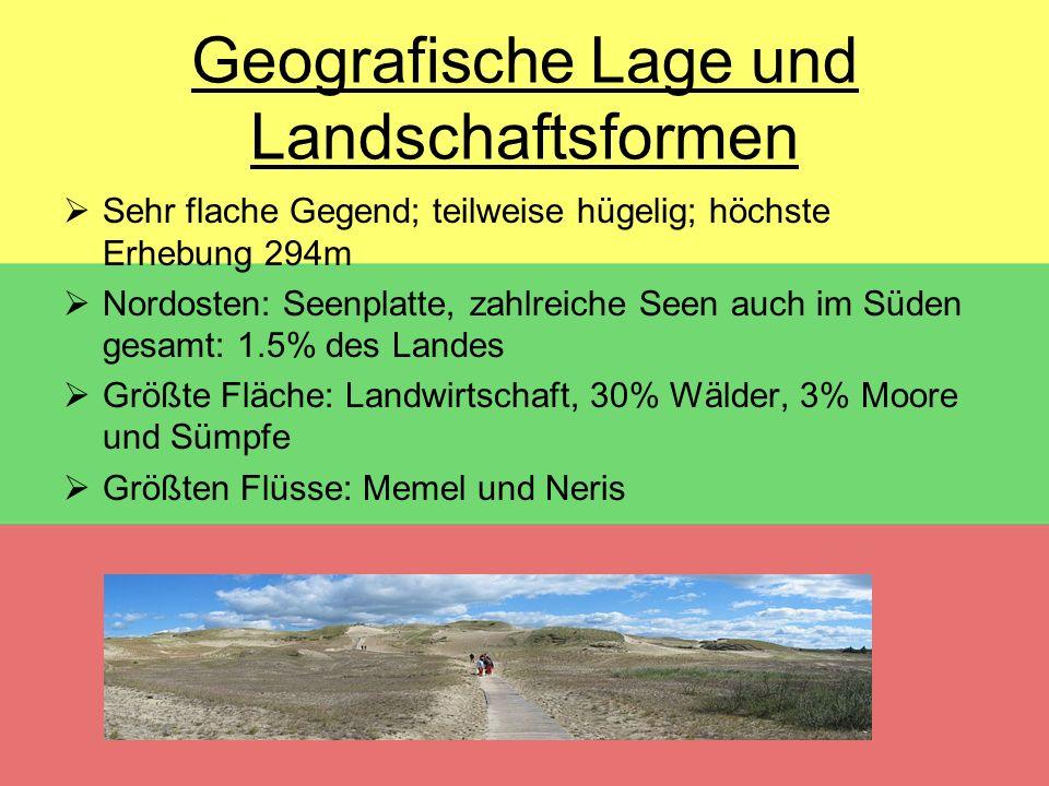 Geografische Lage und Landschaftsformen  Sehr flache Gegend; teilweise hügelig; höchste Erhebung 294m  Nordosten: Seenplatte, zahlreiche Seen auch i