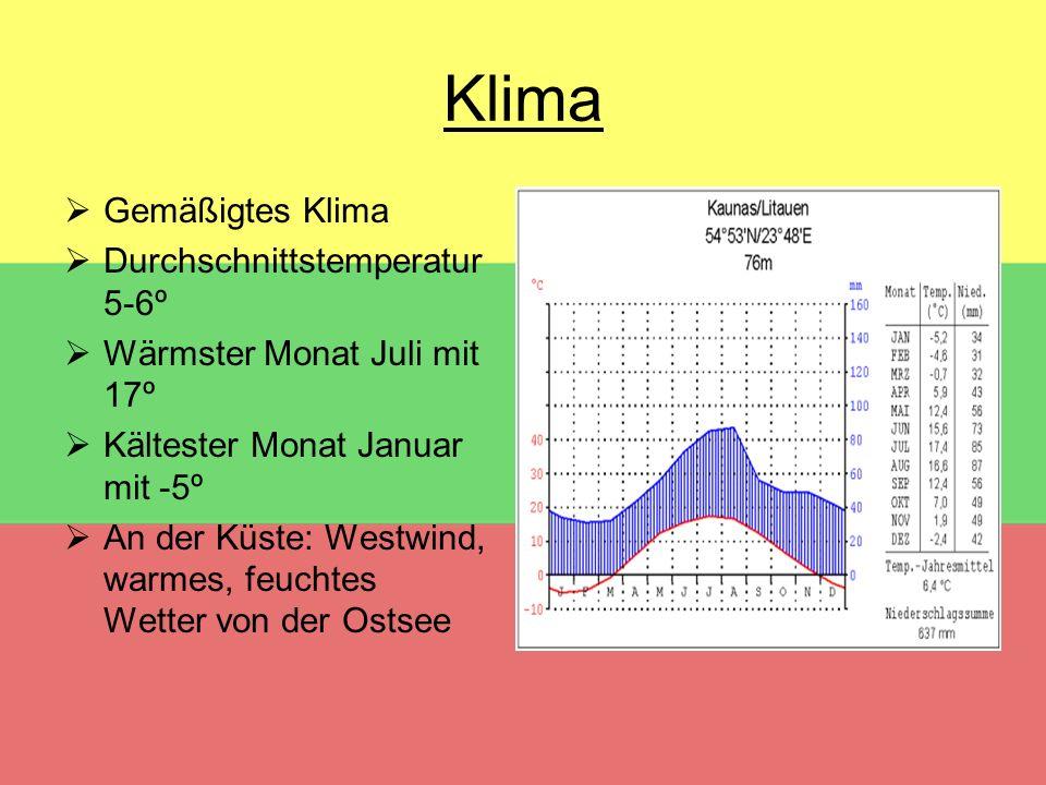 Klima  Gemäßigtes Klima  Durchschnittstemperatur 5-6º  Wärmster Monat Juli mit 17º  Kältester Monat Januar mit -5º  An der Küste: Westwind, warme